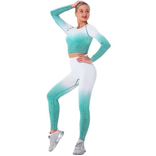 Green Gradient Long Sleeve Sports Set TQE00131-9