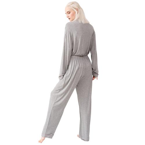 Flower Ash Button Long Sleeve Loungewear Pajamas Set TQE90124-220