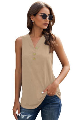 Khaki Just Say The Word 3 Button Tank Top LC253080-16