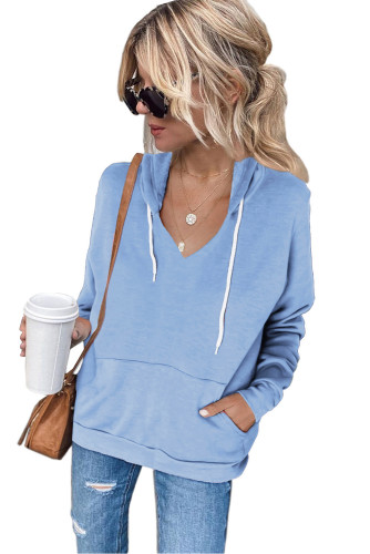 Sky Blue V Neck Kangaroo Pocket Drawstring Hoodie LC2534385-4