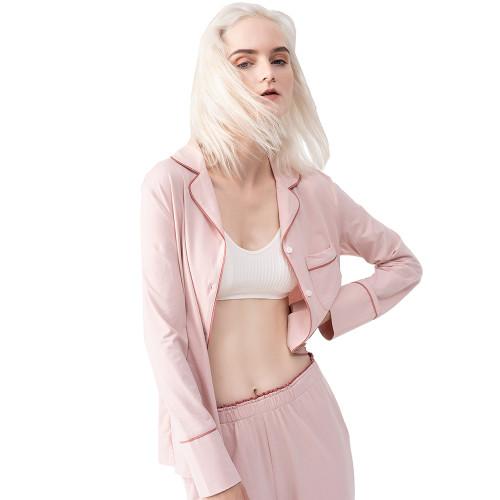 Pink Button Shirt with High Waist Pant Pajamas Set TQE90120-10