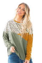 Green Leopard Color Block Splicing Long Sleeve Top LC2513350-9