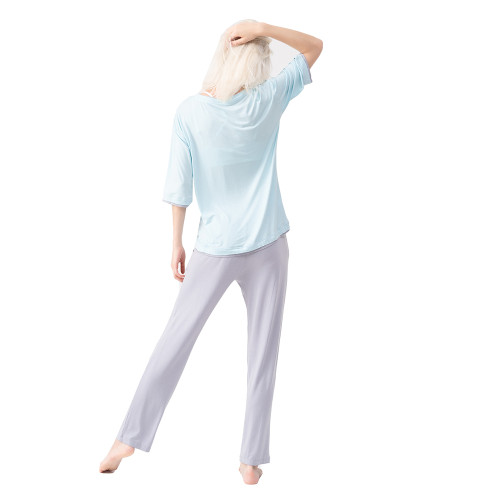 Blue Modal Fake Double Decker Pajamas Set TQE90127-5