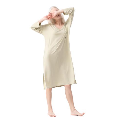 Olive Green Modal Sides Split Pajamas Dress TQE90129-52