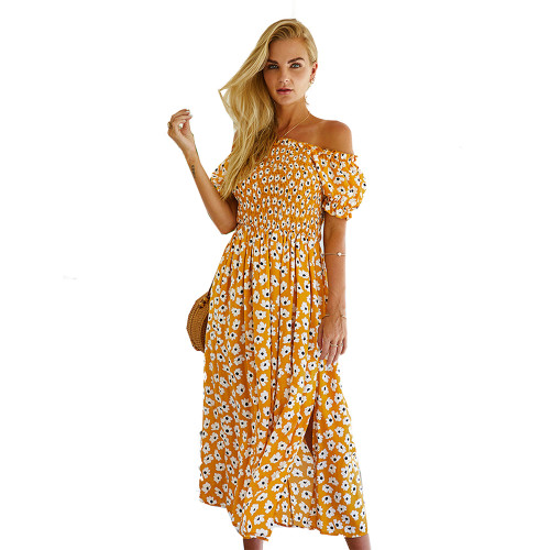 Yellow Off Shoulder Side Slit Floral Dress TQK310473-7