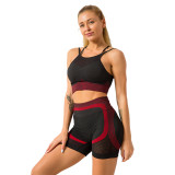 Red Splice Black Sports Bra With Shorts Set TQK710234-3