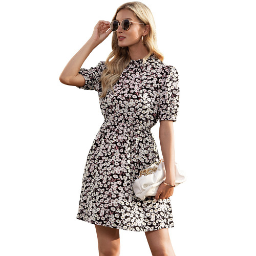 Black Daisy Print Short Sleeve Dress TQK310479-2