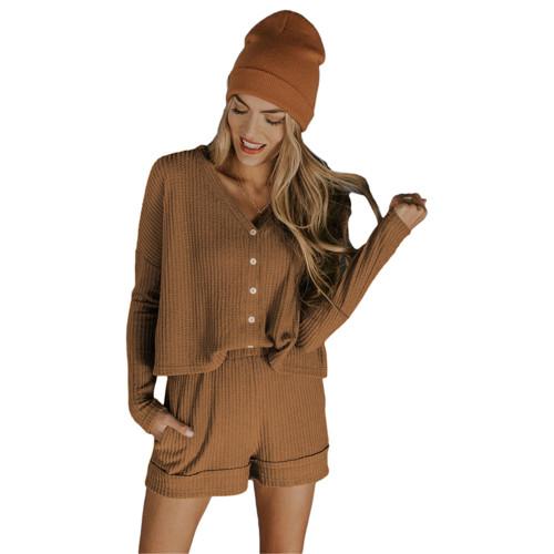 Coffee Waffle Loungewear Long Sleeve Button Shirt and Short Set TQK710231-15