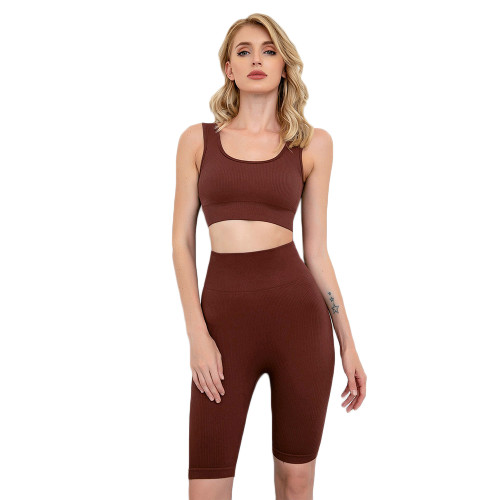 Brown Seamless Knit Yoga Bra with Shorts Set TQK710237-17