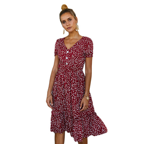Wine Red Floral Print V Neck Boho Dress TQK310475-103