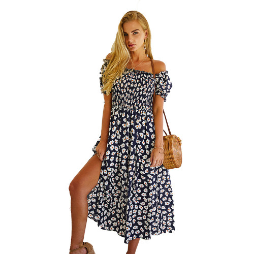 Navy Blue Off Shoulder Side Slit Floral Dress TQK310473-34