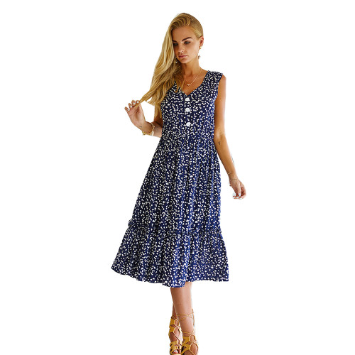 Navy Blue Floral Print Sleeveless A-line Dress TQK310471-34