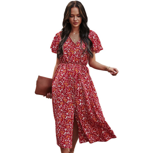 Red Short Sleeve Retro Floral Dress TQK310476-3