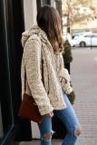 Khaki Zipper Hooded Faux Fleece Solid Color Jacket LC851809-16