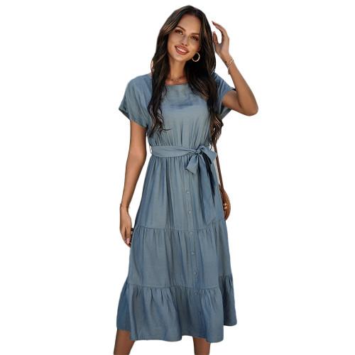 Solid Blue Tie Waist Short Sleeve Dress TQK310477-5