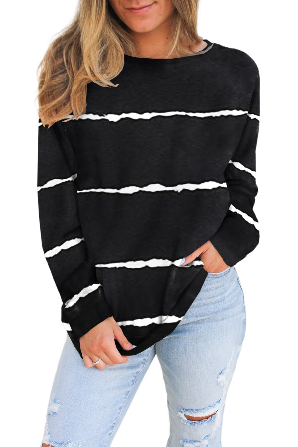 Black Striped Tie Dye Knit Long Sleeve Top LC2532678-2