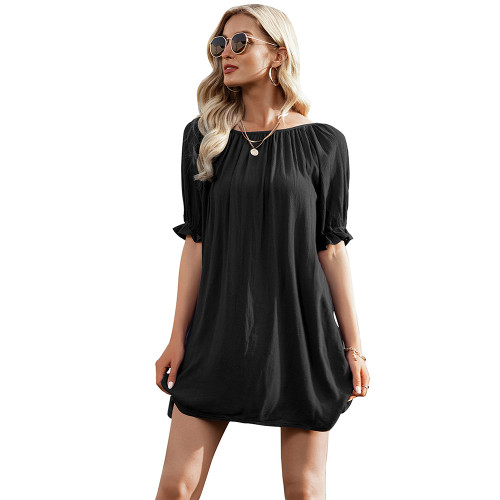 Black Ruffle Hem Off Shoulder Mini Dress TQK310478-2