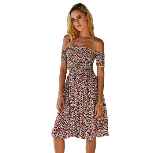 Brown Off the Shoulder Floral Print Dress TQK310472-17