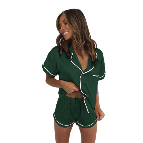 Dark Green Short Sleeve Loungewear Pajamas Short Set TQK710232-36