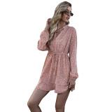 Tangerine V Neck Lace-up Floral Print Dress TQK310481-55