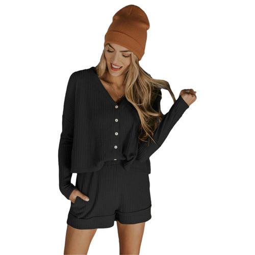 Black Waffle Loungewear Long Sleeve Button Shirt and Short Set TQK710231-2