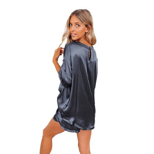 Navy Blue Silk-Like Irregular Loungewear Pajamas Set TQK710233-34