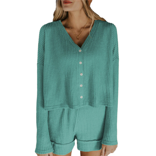 Aquamarine Waffle Loungewear Long Sleeve Button Shirt and Short Set TQK710231-45