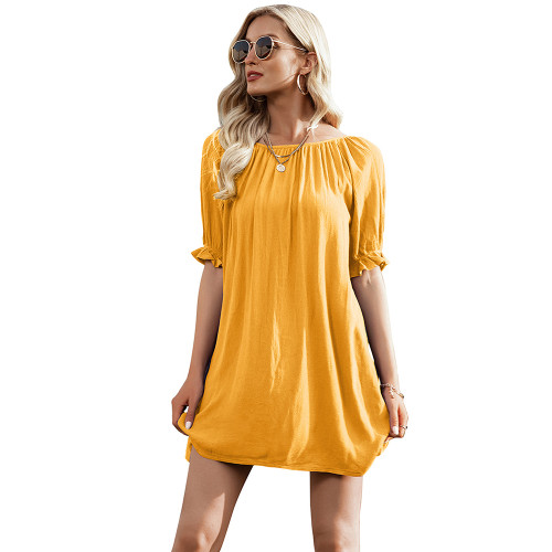 Yellow Ruffle Hem Off Shoulder Mini Dress TQK310478-7