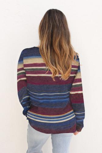 Blue Striped Tie Dye Knit Long Sleeve Top LC2532678-5