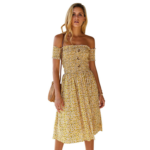 Yellow Off the Shoulder Floral Print Dress TQK310472-7