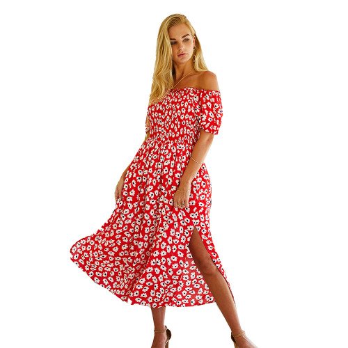 Red Off Shoulder Side Slit Floral Dress TQK310473-3