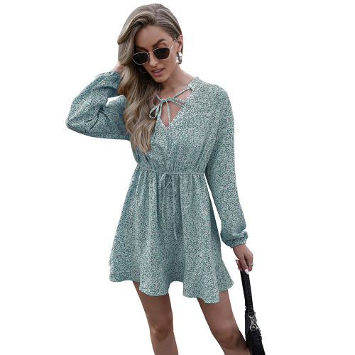 Aquamarine V Neck Lace-up Floral Print Dress TQK310481-45