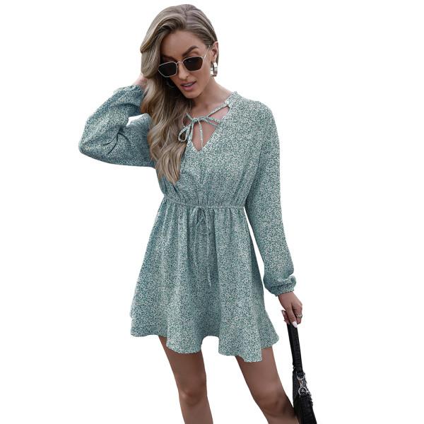 Aquamarine V Neck Lace-up Floral Print Dress TQK310481-45