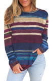 Blue Striped Tie Dye Knit Long Sleeve Top LC2532678-5