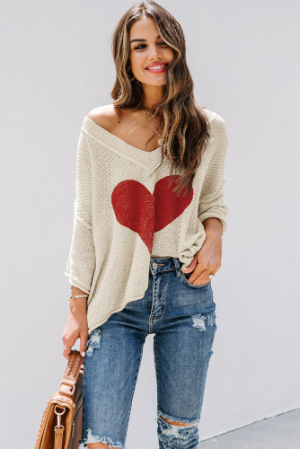 Beige V-neck Dropped Sleeve Heart Print Slouchy Top LC2514061-15