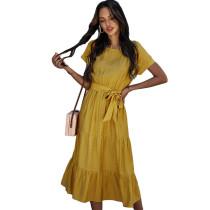 Solid Yellow Tie Waist Short Sleeve Dress TQK310477-7