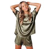 Army Green Silk-Like Irregular Loungewear Pajamas Set TQK710233-27