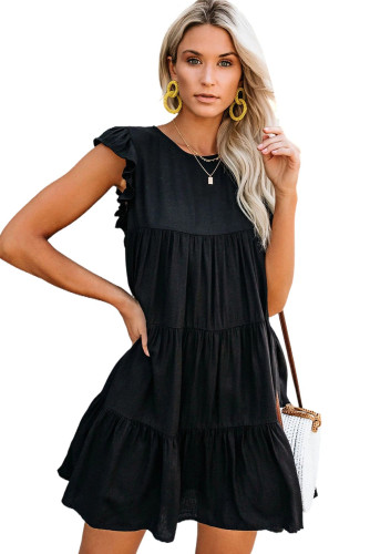 Black Pocket Tiered Ruffled Mini Dress LC223765-2