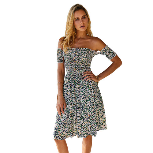 Dark Green Off the Shoulder Floral Print Dress TQK310472-36