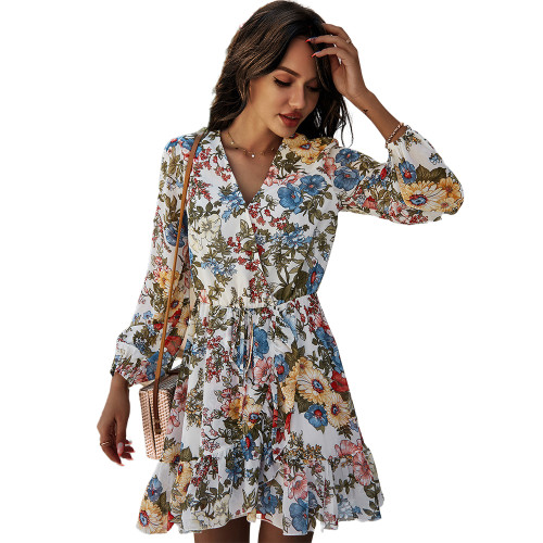 White Floral Print V Neck Chiffon Dress TQK310480-1