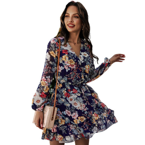Navy Blue Floral Print V Neck Chiffon Dress TQK310480-34