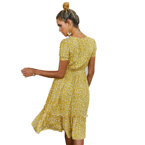 Yellow Floral Print V Neck Boho Dress TQK310475-7