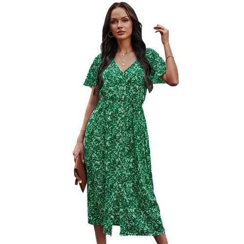 Green Short Sleeve Retro Floral Dress TQK310476-9