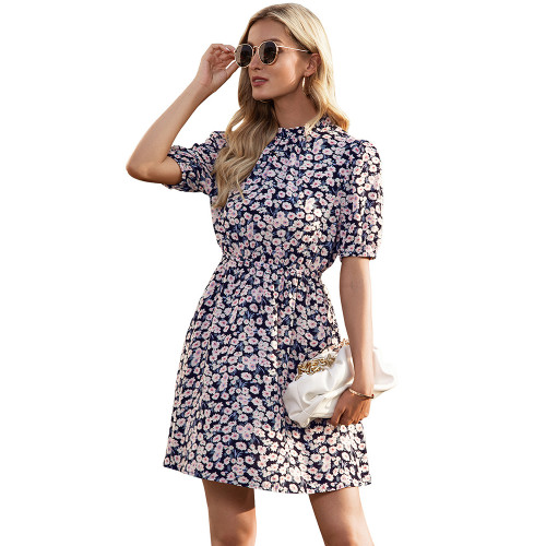 Navy Blue Daisy Print Short Sleeve Dress TQK310479-34