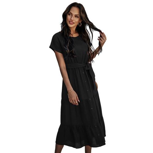 Solid Black Tie Waist Short Sleeve Dress TQK310477-2