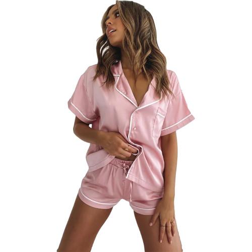 Pink Short Sleeve Loungewear Pajamas Short Set TQK710232-10