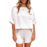 White Silk-Like Irregular Loungewear Pajamas Set TQK710233-1