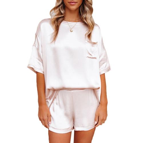 White Silk-Like Irregular Loungewear Pajamas Set TQK710233-1