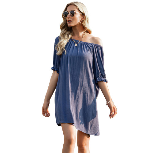 Blue Ruffle Hem Off Shoulder Mini Dress TQK310478-5