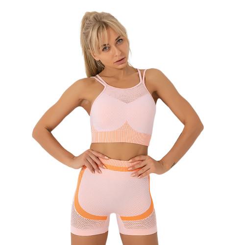 Orange Splice Pink Sports Bra With Shorts Set TQK710234-10
